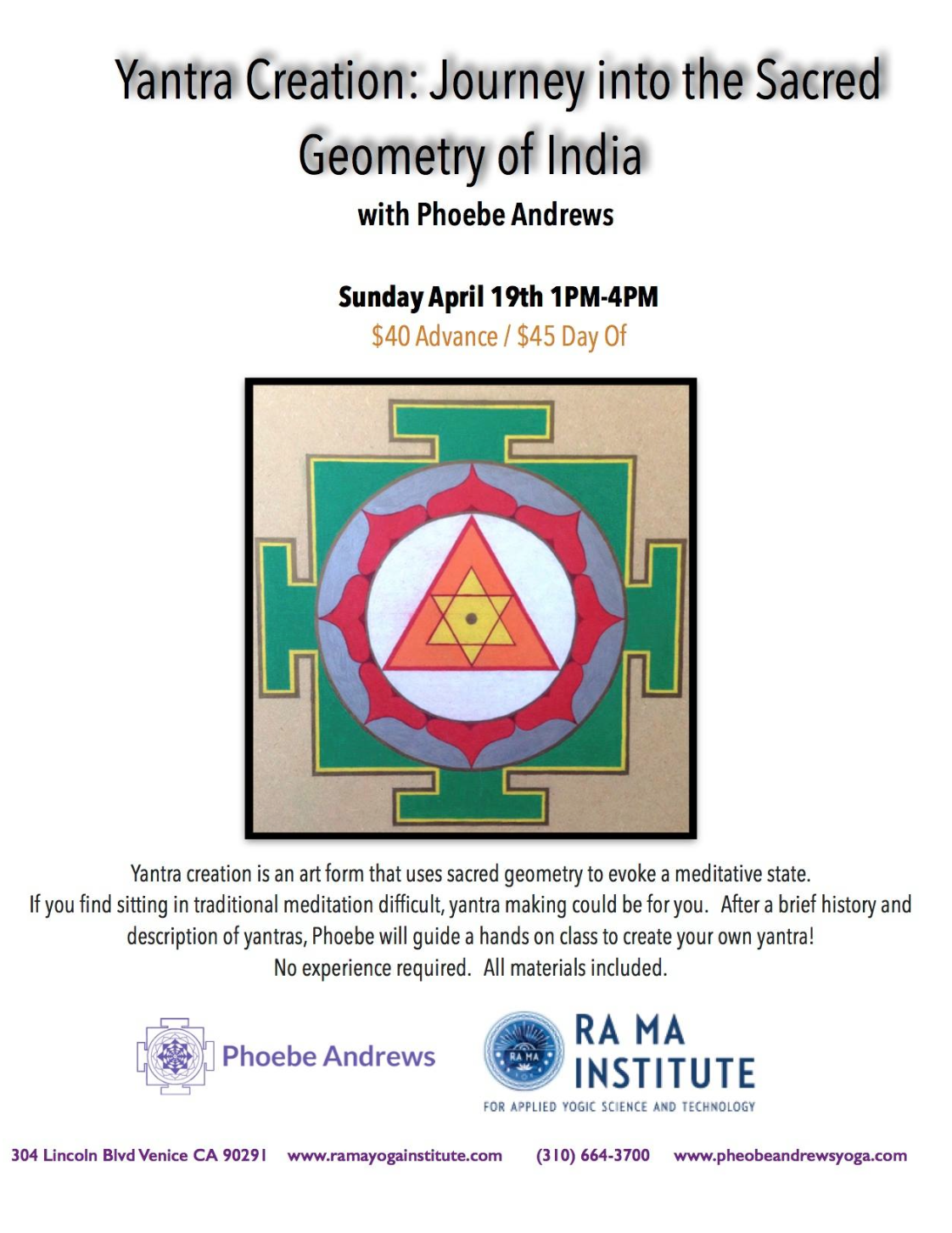 Yantra Event to Find Inner Peace April 19 • The Strange is