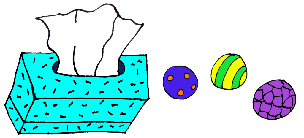 tissue and stress balls in color